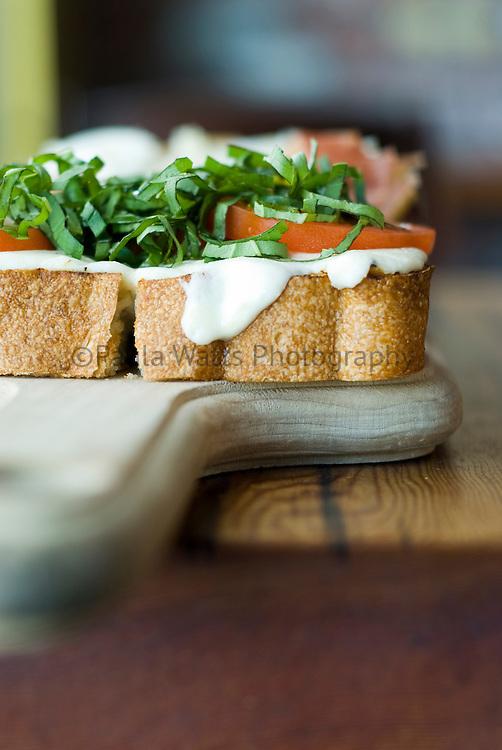 Italian Bruschetta on wood platter