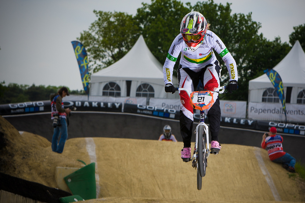 #21 (REYNOLDS Lauren) AUS at the UCI BMX Supercross World Cup in Papendal, Netherlands.