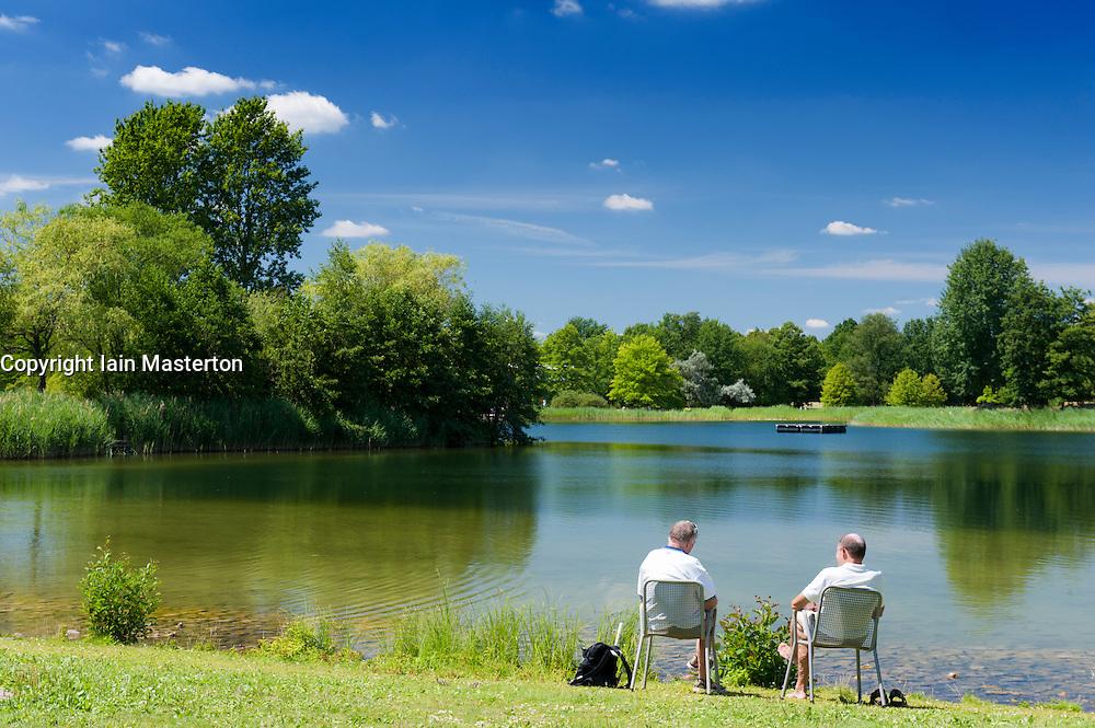 Lake in Britzer Garden in Berlin Germany
