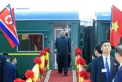 Feb. 26, 2019 - Dong Dang, Vietnam -  Democratic People's Republic of Korea (DPRK) KIM JONG-UN (C) arrives at Dong Dang railway station in Lang Son Province, Vietnam. Kim arrived in Vietnam Tuesday morning by train for his first official visit to the country and the second summit with U.S. President Donald Trump, Vietnam News Agency reported. (Credit Image: © BuaI Doan Tan/Xinhua via ZUMA Wire)