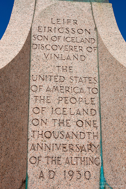 "This is the inscription on the statue of Leif Ericson that is located in front of the Hallgrímskirkja church in Reykjavík, Iceland. The statue was given to Iceland in 1930 by the United States of America to commemorate the 1,000th anniversary of the founding of Iceland's parliament, called Alþingi, one of the oldest in the world. Leif, likely born in Iceland, was an 11th century explorer who may have been the first European to reach North America. The full inscription reads: ""Leifr Eiríksson, son of Iceland, discoverer of Vinland, The United States of America to the People of Iceland on the one thousandth anniversary of the Althing, AD 1930."""