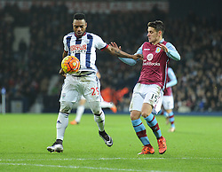 Stephane Sessegnon of West Bromwich Albion Battles for the ball with Ashley Westwood of Aston Villa - Mandatory byline: Alex James/JMP - 23/01/2016 - FOOTBALL - The Hawthorns - Birmingham, England - West Brom v Aston Villa - Barclays Premier League