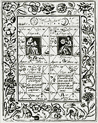 'Four astrological schemes for alchemical operations, copied from manuscript from thomas Norton (active 1477)' 'Ordinall''.  From ''Theatrum chemicum britannicum'' by Elias Ashmole, London, 1652.'