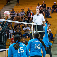 Lanaya Harrison, #6, of Navajo Prep spikes the ball past two Bengals blockers at net Wednesday night at Gallup High School in Gallup.