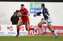 Bristol Rugby's replacement full back Andy Short makes a break - Photo mandatory by-line: Paul Knight/JMP - Mobile: 07966 386802 - 18/01/2015 - SPORT - Rugby - Bristol - Ashton Gate Stadium - Bristol Rugby v Yorkshire Carnegie - Greene King IPA Championship