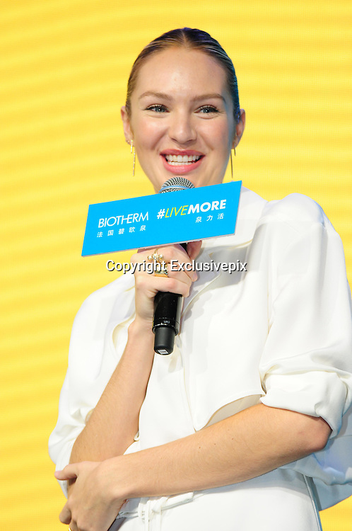 SHANGHAI, CHINA - MARCH 22: (CHINA OUT) Candice Swanepoel, a South African supermodel best known for her work with Victoria\'s Secret, attends a commercial activity of Biotherm on March 22, 2016 in Shanghai, China. (Photo by VCG)***_***