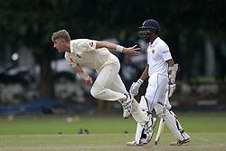 November 2, 2018 - Colombo, Sri Lanka - England cricketer Olly Stone (L) delivers a ball  during the cricket match between England cricket team vs Sri Lanka Board XI , Tour Match on 2, November  2018  (Credit Image: © Tharaka Basnayaka/NurPhoto via ZUMA Press)