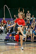 Loughborough, England - Saturday 31 July 2010: Eddie Yacynch of the USA in action during the World Rope Skipping Championships held at Loughborough University, England. The championships run over 7 days and comprise junior categories for 12-14 year olds in the World Youth Tournament, 15-17 year olds male and female championships, and any age open championships. In the team competitions, 6 events are judged, the Single Rope Speed, Double Dutch Speed Relay, Single Rope Pair Freestyle, Single Rope Team Freestyle, Double Dutch Single Freestyle and Double Dutch Pair Freestyle. For more information check www.rs2010.org. Picture by Andrew Tobin/Picture It Now.