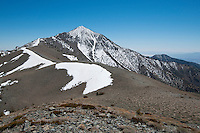 Telescope Peak, elevation 11,049 feet (3,368 meters), in the Panamint Range on the Western edge of Death Valley. Death Valley National Park, California