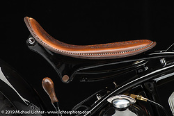 "Brandon Cooper's ""OH Black Betty"" 1959 Harley-Davidson stroked Flathead custom with a Norton transmission. Photographed by Michael Lichter at the Easyriders Bike Show in Columbus, OH. February 8, 2018. ©2018 Michael Lichter"