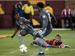 September 22, 2018 - Minneapolis, MN, USA - Fallen Portland Timbers goalkeeper Steve Clark can only watch as Minnesota United forward Carlos Darwin Quintero (25) makes an assist to midfielder Romario Ibarra for a goal in the first half on Saturday, Sept. 22, 2018, at TCF Bank Stadium in Minneapolis. (Credit Image: © Aaron Lavinsky/Minneapolis Star Tribune/TNS via ZUMA Wire)
