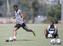 July 28, 2017 - Carson, California, U.S - Giovani dos Santos practices a direct kick as Ashley Cole watches during their L.A. Galaxy practice at StubHub Center on Friday, July 28, 2017. Jonathan dos Santos joins the L.A. Galaxy. (Credit Image: © Prensa Internacional via ZUMA Wire)