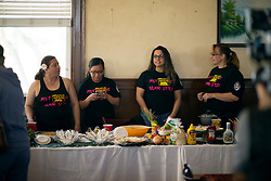 A team of cooks from Ione, Calif. await the judging of the food entries at the 22nd annual Spam Festival, Sunday, Feb. 16, 2019, in Isleton, Calif. Spam lovers competed for prizes by presenting their favorite Spam-infused foods, or entering the Spam-eating and Spam-toss contests. (Photo by D. Ross Cameron)