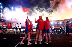 Isle of Man athletes wave flags during the Closing Ceremony for the 2018 Commonwealth Games at the Carrara Stadium in the Gold Coast, Australia.