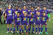 MLS Game, Orlando City v San Jose Earthquake, Orlando City dedicate match to Pulse nightclub Shootings In Orlando.  <br /> 06-18-16.<br /> Orlando's line up pre game   . <br /> Orlando, Florida, USA.<br /> Picture  Mark Davison for DailyMail.com<br /> Saturday 18th June 2016.