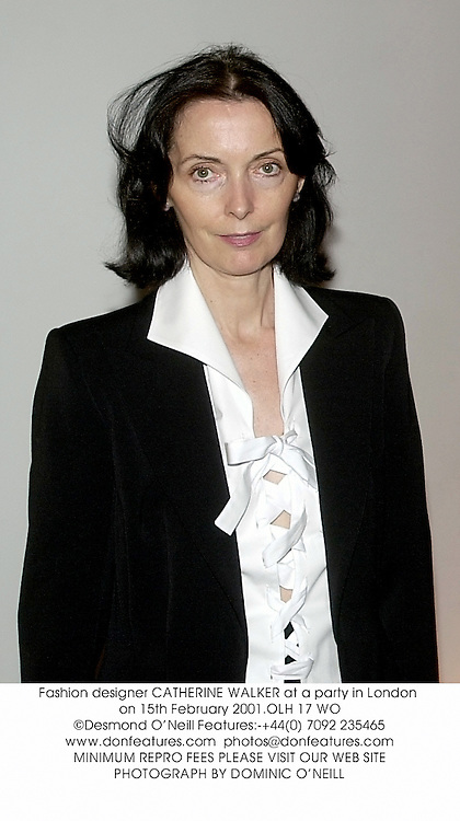 Fashion designer CATHERINE WALKER at a party in London on 15th February 2001.OLH 17 WO