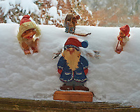 Trolls Playing in the Snow on a Fence in my Backyard. Winter in New Jersey. Image taken with a Nikon Df camera and 58 mm f/1.4G lens (ISO 6400, 58 mm, f/16, 1/160 sec). Raw image processed with Capture One Pro 7.