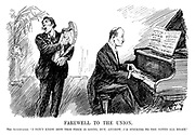 "Farewell to the Union. The accompanist. ""I don't know how this piece is going, but, anyhow, I'M sticking to the notes all right."" (a pianist plays the tune Bid Me Goodbye And Go while a man plays the Irish Free State harp during the InterWar era)"