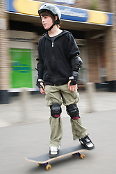 Young person skateboarding.