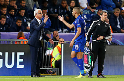 Islam Slimani of Leicester City celebrates at full time with manager Claudio Ranieri  - Mandatory by-line: Matt McNulty/JMP - 27/09/2016 - FOOTBALL - King Power Stadium - Leicester, England - Leicester City v FC Porto - UEFA Champions League