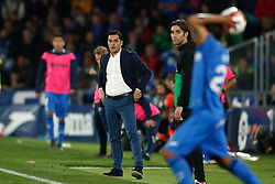 March 9, 2019 - Getafe, MADRID, SPAIN - Francisco Javier Rodriguez Vilchez, coach of Huesca, during the spanish league, La Liga, football match played between Getafe CF and SD Huesca at Butarque Stadium in Getafe, Madrid, Spain, on March 9, 2019. (Credit Image: © AFP7 via ZUMA Wire)