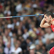 Craig Kinsley, USA, during the Javelin qualifying round at the Olympic Stadium, Olympic Park, during the London 2012 Olympic games. London, UK. 8th August 2012. Photo Tim Clayton