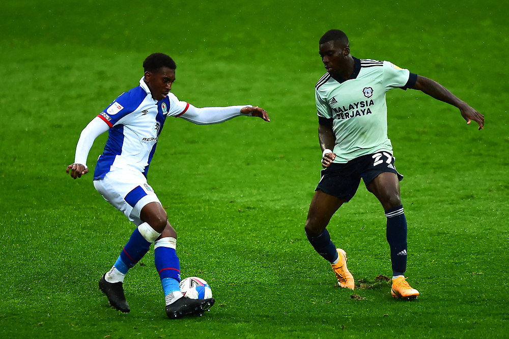 Blackburn Rovers' Amari'i Bell competes with Cardiff City's Sheyi Ojo<br /> <br /> Photographer Richard Martin-Roberts/CameraSport<br /> <br /> The EFL Sky Bet Championship - Blackburn Rovers v Cardiff City - Saturday 3rd October 2020 - Ewood Park - Blackburn<br /> <br /> World Copyright © 2020 CameraSport. All rights reserved. 43 Linden Ave. Countesthorpe. Leicester. England. LE8 5PG - Tel: +44 (0) 116 277 4147 - admin@camerasport.com - www.camerasport.com