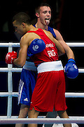 Mcc0055084 . Daily Telegraph<br /> <br /> England's Sam Maxwell vs Scotland's Josh Taylor in the Men's Light Welter (64kg) Semi-final 1 on Day 9 of the 2014 Commonwealth Games .<br /> <br /> <br /> Glasgow 1 August 2014