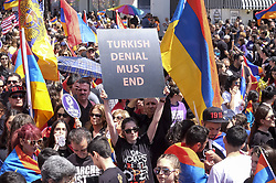 April 24, 2018 - Los Angeles, California, U.S - Thousands of Armenians carrying signs and Armenian flags march in Los Angeles, Tuesday April 24, 2018, to mark the 103rd anniversary of the Armenian Genocide. (Credit Image: © Ringo Chiu via ZUMA Wire)