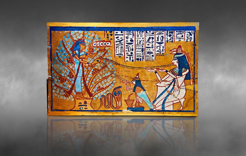 Ushabti box of Sched-es-en-mut. Egyptian painted wooden box panel of the deceased in front of a tree goddess, 1540-1075 BC . Neues Reiche Museum, Berlin. Cat No AM630