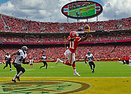 Wide receiver Demarcus Robinson #11 of the Kansas City Chiefs makes leaping one handed catch for a touchdown against cornerback Brandon Carr #24 of the Baltimore Ravens during the first half at Arrowhead Stadium on September 22, 2019 in Kansas City, Missouri.