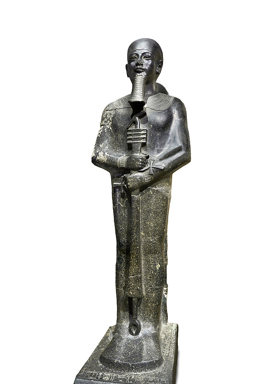 Ancient Egyptian statue of the god Ptah, granodiorite, New Kingdom, 18th Dynasty, (1390-1353 BC)Karnak. Egyptian Museum, Turin. white background,.<br /> <br /> The statue of the god Ptah is in the likeness of the reigning king Amenhotep III with a youthful almost feminine face, full cheeks, large smiling mouth and fleshy lips. The large almond shaped eyes are characteristic of the period as is the outline of the lips, Drovetti collection. Cat 86 .<br /> <br /> If you prefer to buy from our ALAMY PHOTO LIBRARY  Collection visit : https://www.alamy.com/portfolio/paul-williams-funkystock/ancient-egyptian-art-artefacts.html  . Type -   Turin   - into the LOWER SEARCH WITHIN GALLERY box. Refine search by adding background colour, subject etc<br /> <br /> Visit our ANCIENT WORLD PHOTO COLLECTIONS for more photos to download or buy as wall art prints https://funkystock.photoshelter.com/gallery-collection/Ancient-World-Art-Antiquities-Historic-Sites-Pictures-Images-of/C00006u26yqSkDOM