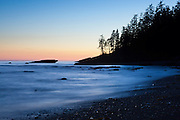 Tsusiat Beach at dusk, West Coast Trail, British Columbia, Canada.