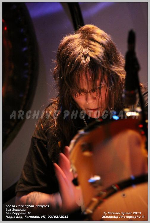 FERNDALE, MI, SATURDAY, FEB. 02, 2013: Lez Zeppelin, Led Zeppelin II Leesa Harrington-Squyres at Magic Bag, Ferndale, MI, 02/02/2013.  (Image Credit: Michael Spleet / 2SnapsUp Photography)