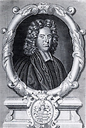 John Harris (1667-1719), English mathematician, at the age of 40. Harrison was Secretary of the Royal Society (1709-1710).  Engraving from the frontispiece of the fifth edition of his 'Lexicon Technicum' (London, 1736), first edition 1704.