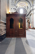 confessional in  a large church Italy Rome