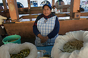 Leonor Mulio sells mote choclo, steamed maize kernels along with mixed legumes, at the Mercado La Merced in Latacunga. The city, founded in 1534, is located at 2,760 meters above sea level at the base of the Cotopaxi volcano. Latacunga , Cotopaxi, Ecuador. February 19, 2013.