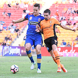 BRISBANE, AUSTRALIA - JANUARY 7: Nigel Boogaard of the Jets and Jamie MacLaren of the Roar compete for the ball during the round 14 Hyundai A-League match between the Brisbane Roar and Newcastle Jets at Suncorp Stadium on January 7, 2017 in Brisbane, Australia. (Photo by Patrick Kearney/Brisbane Roar)