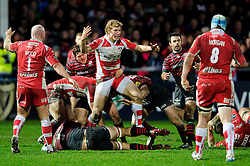 Gloucester Inside Centre (#12) Billy Twelvetrees (capt) appeals to the referee during the second half of the match - Photo mandatory by-line: Rogan Thomson/JMP - Tel: Mobile: 07966 386802 - 04/01/2014 - SPORT - RUGBY UNION - Kingsholm Stadium, Gloucester - Gloucester Rugby v Saracens - Aviva Premiership.