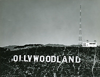 """1947 Hollywoodland sign missing the letter """"H"""".  The letter was blown down by a severe windstorm in March 1944."""