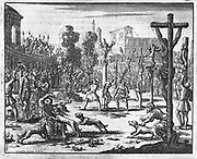 Persecution by emperors Diocletian and Maximus, AD 301 (Eeghen 686)   Jan Luiken (1649-1712) etching in the Martyrs Mirror