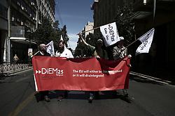 May 1, 2019 - Athens, Greece - Members of the pan-European movement Diem25 during a rally marking May Day in Athens on May 1, 2019  (Credit Image: © Panayotis Tzamaros/NurPhoto via ZUMA Press)