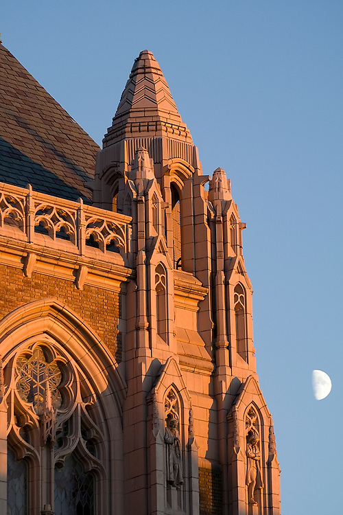 Detail of the Suzzallo Library and the Moon at the University of Washington campus in Seattle, Washington on October 30, 2006.