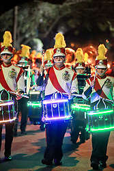 13 Feb 2015. New Orleans, Louisiana.<br /> Mardi Gras. Krewe D'Etat makes its way along Magazine Street with marching bands leading the way.<br /> Photo; Charlie Varley/varleypix.com