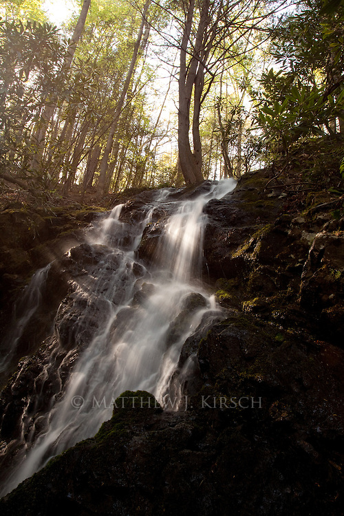Cataract Falls is located behind the Sugarlands Visitor Center. It has a 40ft drop.