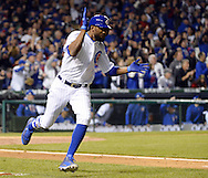 CHICAGO, IL - OCTOBER 22: Dexter Fowler #24 of the Chicago Cubs reacts after hitting an RBI single in the second inning during Game 6 of the NLCS against the Los Angeles Dodgers at Wrigley Field on Saturday, October 22, 2016 in Chicago, Illinois. (Photo by Ron Vesely/MLB Photos via Getty Images)  *** Local Caption *** Dexter Fowler