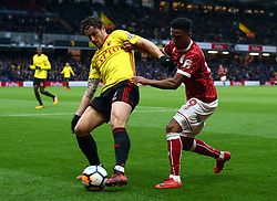 January 6, 2018 - Watford, England, United Kingdom - Watford's Daryl Janmaat holds of Bristol City's Niclas Eliasson ..during FA Cup 3rd Round match between Watford  and Bristol  City at Vicarage Road Stadium, Watford ,  England 06 Jan 2018. (Credit Image: © Kieran Galvin/NurPhoto via ZUMA Press)