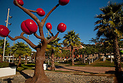 Giant coffee bush sculpture in Parque Arturo Lluberas in the town of Yauco Puerto Rico