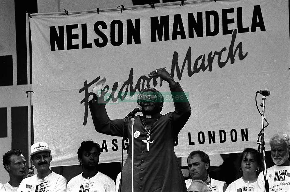 Archbishop Desmond Tutu adressing the Nelson Mandela Freedom Rally in Hyde Park, London.