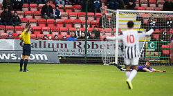Ayr United's Craig Moore booked for diving. <br /> Dunfermline 3 v 2 Ayr United, Scottish League One played at East End Park, 13/2/2016.